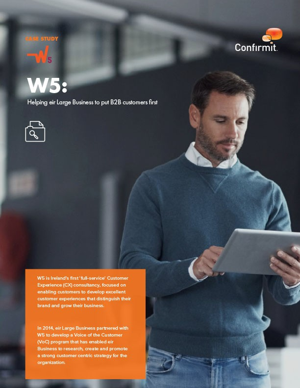 The CX program created by W5 for eir Large Business has identified key customer challenges, enabling the company to build improvement initiatives to retain clients.