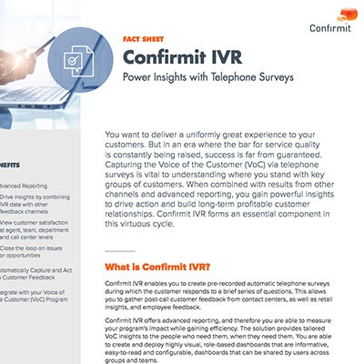 Confirmit's Interactive Voice Response (IVR) fact sheet