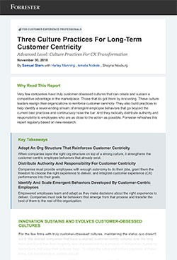 Three Culture Practices For Long-Term Customer Centricity Report